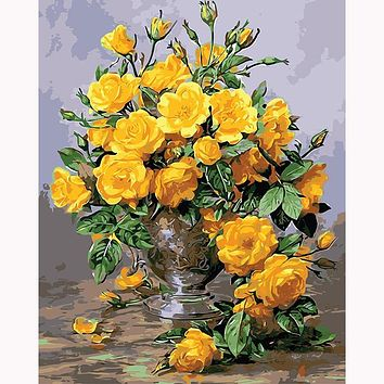 Yellow rose flower - canvas paintings with frame home decoration oil painting by numbers scenery pictures cuadros wall art DY514