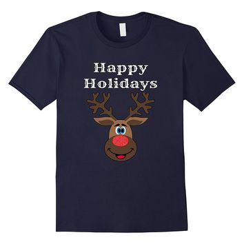 Happy Holidays Cute Reindeer Matching Family Christmas Shirt