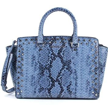 MICHAEL Michael Kors Selma Jewel Large Python-Embossed Top Zip Satchel (Denim)