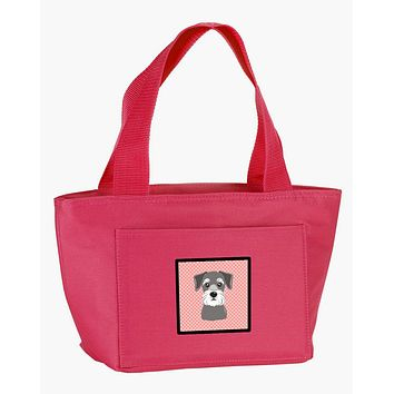Checkerboard Pink Schnauzer Lunch Bag BB1206PK-8808