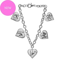 One Direction Signature Hearts Charm Bracelet