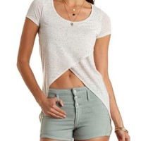 Slub Knit Tulip Slit High-Low Tee by Charlotte Russe