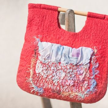 Boho Red Nuno Felted Bag Wooden Handles Wool Multicolor Silk Tote Texture boho bohemian style