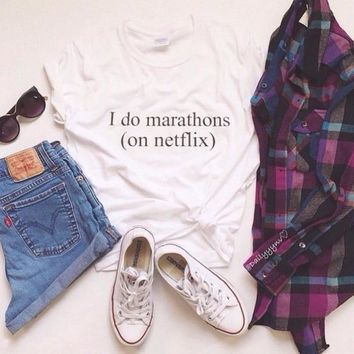 New Women Tshirt i do marathons Letters Print Cotton Casual Funny Shirt For Lady White Top Tee Hipster ZT203-50