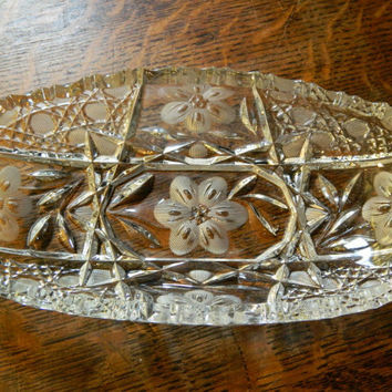 Vintage Pressed and Cut Glass Rectangular Candy Dish - Daisy Pattern - Possibly American Brilliant Period
