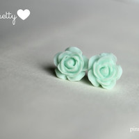 Mint 18 mm Cabochon Resin Stud Earrings
