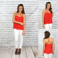 Cross in the Night Top in Red