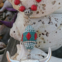 Western Bull Pendant Necklace Rodeo Southwestern Cowgirl Jewelry