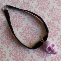 Pastel Goth skull necklace choker purple lavender