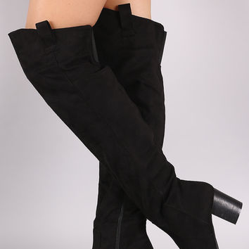 Suede Western Chunky Heeled Over-The-Knee Boots
