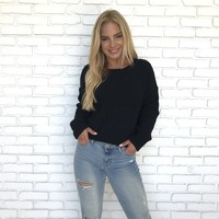 Let's Get Cozy Knit Sweater in Black