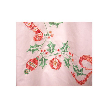 White Christmas MCM Tablecloth vintage 50s Cross Stitch Ornaments Holly Berries Leaves Red Green Yellow Orange Linen 60 x 76 Handmade 1960s