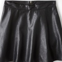 AEO 's Vegan Leather Circle Skirt (Black)