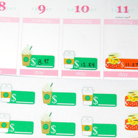 Starbucks Coffee Spending Tracker Planner Sticker for Erin Condren Life Planner (ECLP) Reminder Sticker Track Fuel Cost
