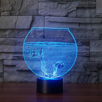 Fish Bowl 3D LED Night Light Lamp