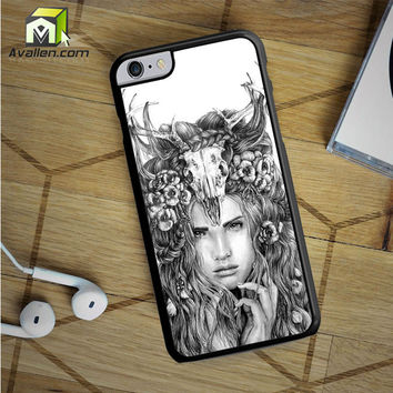 Skull Woman Art Printing iPhone 6S Plus Case by Avallen