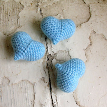 Blue heart, kawaii hearts, amigurumi crochet heart, set of three, crochet heart keyring, amigurumi heart bag charm, plush heart
