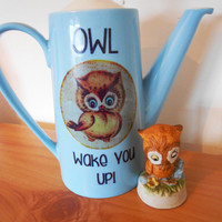 OOAK 'OWL Wake You Up!' Retro Upcycled Johnson Bros Coffeepot- Midcentury Utility China Decorative- Pastels Vintage Retro Kitsch- Pale Blue
