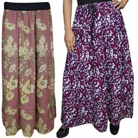 Boho Chic Womens Long Skirt A- Line Printed Tiered Flared Maxi Skirts 2 Lots