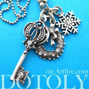 Antique Skeleton Key and Snowflake Pendant Necklace in Silver