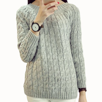 Female Knitting Jumper Pullover Sweater Pull Femme Long Sleeve 2016 Women Autumn and Winter Knitted Pullovers Sweaters