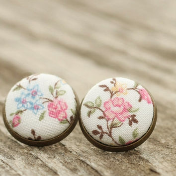 Stud Earrings - Cherry Blossoms Studs - Pink and Blue Flowers on White Earrings - Romantic Shabby Chic Fabric Buttons Jewelry Antique Posts