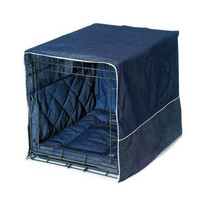 Denim Dog Crate Set w/ Cover + Bed + Bumper Pad