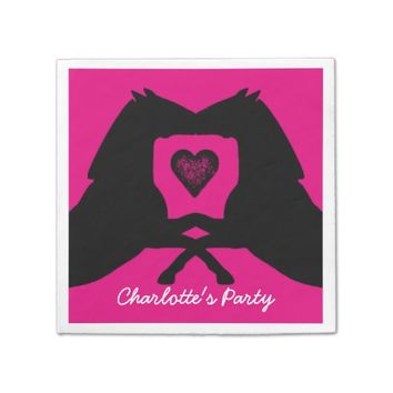Bright Pink Party Napkins Horses Personalized