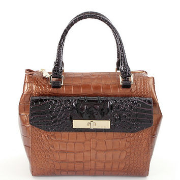 Brahmin Bronze Sienna Collection Croco-Embossed Malia Satchel | Dillards