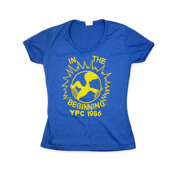Women's Small Blue Vintage Tshirt / 80s In the Beginning by Fun-Tees Sportswear / Made in USA / 0050TS