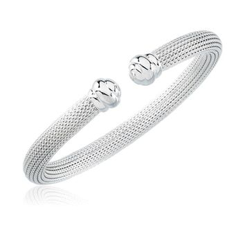 Sterling Silver  6.5mm Hollow Mesh Cuff Bracelet