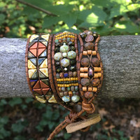 SEDONA, Beaded Bracelet, Wrap Bracelet, Beaded Wrap Bracelet, Beaded Leather Bracelet, Fall Jewelry, Triple Wrap, Twinkling Of An Eye, OOAK
