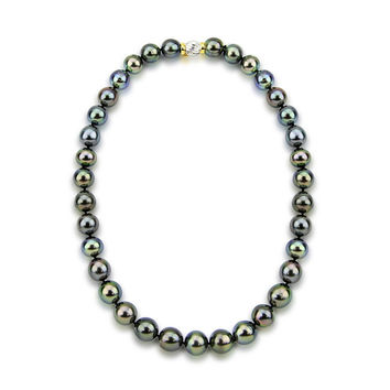 """11-13mm Black Tahitian Cultured Pearl Necklace 17.5"""" AAA Quality with 14K Yellow and White Gold Clasp"""