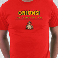 Onions T-shirt - 100% Cotton. Mens, womens and kids sizes. An onion slogan shirt in royal blue and brown.