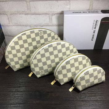 LV shell Women Leather Purse Wallet Four-Piece plaid print H-MYJSY-BB