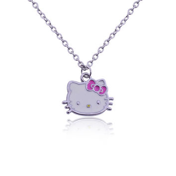 Korean Jewelry Korean Version Lady Lovely Original Single Full Of Rhinestone Necklace Little Hello Kitty Necklaces & Pendants