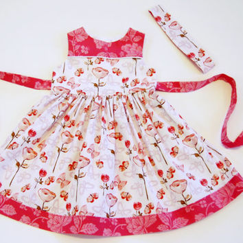 Handmade girls pink floral dress with matching reversible headband party dress sunday best pink floral dress tulips and butterflies 2T 4T