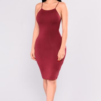 Louisa Mini Dress - Burgundy