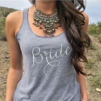 """Bride"" Letter Print Sleeveless T-Shirt"