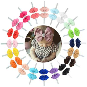 "20pcs/Lot 4"" Inch Grosgrain Headdress Silver Hair Bow Bands Headbands Accessories Hairband Flower Solid Color for Baby Girl Toddlers Kids Children"