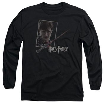 Harry Potter - Harry's Wand Portrait Long Sleeve Adult 18/1 Officially Licensed Shirt