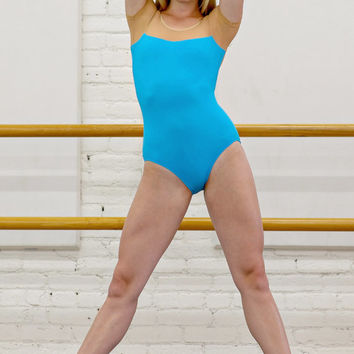 Custom Short Sleeve Leotard with contrast top and low back - Megan style