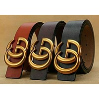 Boys & Men GUCCI Woman Men Fashion Trending Smooth Buckle Belt Leather Belt