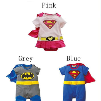 Baby Boys Girls Cartoon Superman Cotton Bodysuit Outfit Costume Romper Clothes = 1946068612