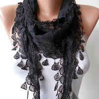 Gift - Handmade Cotton Scarf- Black Scarf with Black Trim Edge - Lightweight and Cotton Fabric
