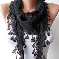New - Black Scarf - Christmas Gift - Cotton Black Scarf with Trim Edge - Lightweight