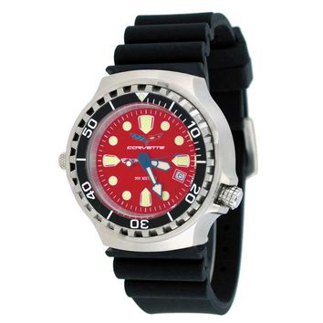 Corvette CR286RD Men's Z06 Collection Red Dial Rubber Strap Swiss Dive Watch