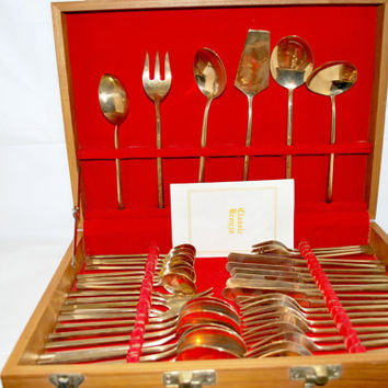 Bronze Set of Cutlery in Original Wood Box , Set for 8 Persons Nickel and Bronze Cutlery