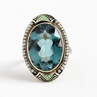 Vintage Enamel Ring - Antique Art Deco 14k Yellow Gold Created Blue Spinel & Seed Pearl Halo Statement - 1920s Size 6 1/4 Green Fine Jewelry