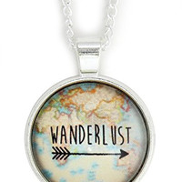 Wanderlust Map Arrow Necklace Silver Tone NW46 World Atlas Pendant Fashion Jewelry